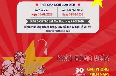Công ty cổ phần Koffmann Việt Nam thông báo kế hoạch nghỉ lễ 30/4 - 1/5 - 2020